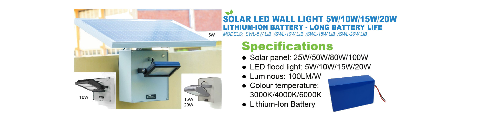 Solar Wall Light With Lithium Batteries